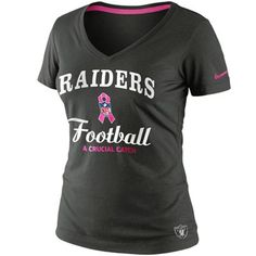 Nike Oakland Raiders Women's Breast Cancer Awareness Team V-Neck T-Shirt - Anthracite #fanatics