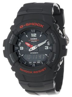 "Amazon.com: Casio Men's G100-1BV ""G-Shock"" Watch in Black Resin: Casio: Clothing"