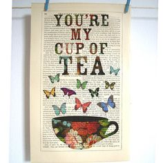 Antique Paper Upcycled Cup of Tea Art Print