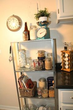 I already own this shelving unit! Getting ideas for storing dry goods