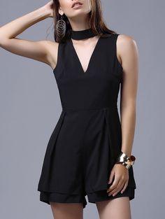 Deep V Neck Fitted Romper #womensfashion #pinterestfashion #buy #fun#fashion