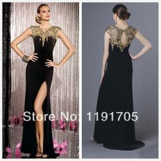 2014 New  handmade modern backless black chiffon beading  long  prom dresses for party,wedding,homecoming $102.00
