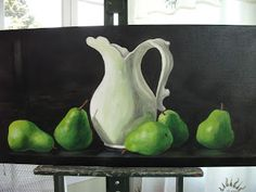 White Jug with Pears  24x48 acrylic painting