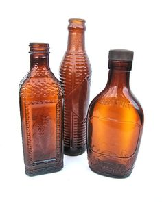 Brown Antique Bottles Lot of 3 Instant Collection by worldvintage