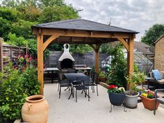 Chunky timber garden gazebos with thick posts. Low maintenance, fully pressure treated and a tall walkthrough height. Roof Brackets, Garden Gazebo, Garden Buildings, Tongue And Groove, Roof Design, Galvanized Metal, Garden Furniture, Outdoor Structures, Patio