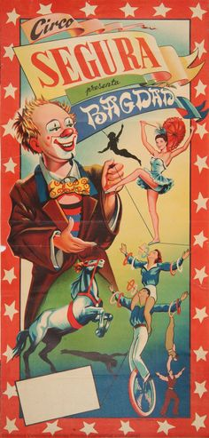 Circo Segura : Presenta Bagdad. Valencia : Lit. Mirabet, [ca. 1950]. 1 lám. (cartel) : col. ; 67 x 32 cm