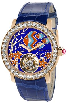 Bulgari I; Giardino Marino di Bulgari watch with sapphire bridge, camplevé dial with marquetry, and diamonds set in 18-karat pink gold.