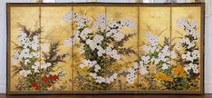 Spring Landscape, unknown Rimpa school painter, 18th century, six-screen ink and gold on paper.