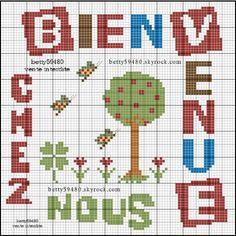 Bienvenue - welcome - point de croix - cross stitch - Blog : http://broderiemimie44.canalblog.com/