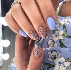 35 Outstanding Classy Nails Ideas For Your Ravishing Look - ❤ Nail Art - Sweet Pastel Blue Nails With Leaves Art ❤ 35 Outstanding Classy Nails Ideas For Your Ravishing Lo - Cute Acrylic Nails, Cute Nails, Pretty Nails, My Nails, Acrylic Nail Designs, Diy Your Nails, Nails At Home, Gorgeous Nails, Classy Nail Designs