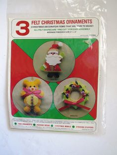 Vintage Christmas Ornament Craft Kit - 3 Felt Jeweled Decorations - Santa Wreath Teddy Bear - DIY Craft Kit -Unopened Kit by shabbyshopgirls on Etsy