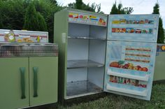 Now we are talking! Vintage toy kitchen set includes sink, fridge, stove and washing machine. They don't make them like they use to!