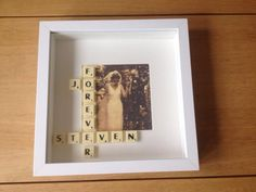 Scrabble art, made for a wedding anniversary present.  Find me on Facebook  Traditional toys and rag dolls Wedding Anniversary Presents, Scrabble Art, Traditional Toys, Button Art, Rag Dolls, Facebook, Frame, Cloth Art Dolls, Frames