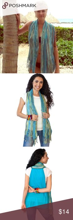 Unique Bohemian Scarf Vest Very unique bohemian style scarf vest.  Beautifully threaded front with fringe along the bottom.  Back is a vibrant blue.  Wear with a shirt and jeans or use as a swimsuit cover up! Swim Coverups