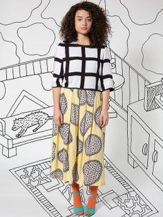 Nathalie Du Pasquier Printed Rayon Crop Blouse + Rayon Challis Long Skirt. #AmericanApparel