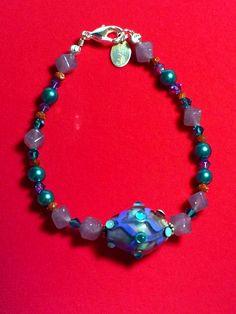 """Moonlight Mist Hand-beaded 7"""" Bracelet - Lampwork - $24.99 on Bonanza"""