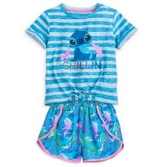 Say aloha to seaside style with our Stitch Top and Shorts Set! The characterful set features a striped tee with charming character artwork and wonderfully colourful shorts. Lilo And Stitch Shirt, Lelo And Stitch, Kids Outfits Girls, Toddler Girl Outfits, Cute Outfits, Casual Outfits, Stitch Toy, Cute Stitch, Stitch Pajamas