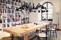 after this dining room. I adore the Dear Ingo by Ron Gilad for Moooi light fixture (and my. Decoration Design, Deco Design, Spider Lamp, Spider Light, Giant Spider, Black Spider, Home Library Design, Library Ideas, Library Wall