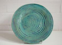 Ceramiczny turkusowo granatowy talerz o średnicy 28 cm. Hanja- Hania Owczarek