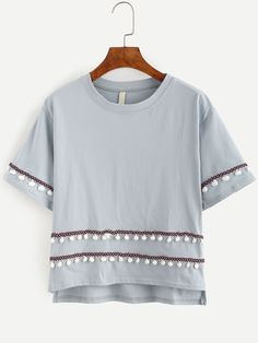 Camiseta bajo asimétrico adorno pompones - gris-Spanish SheIn(Sheinside)
