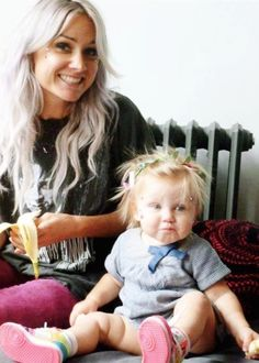 Lou Teasdale and baby Lux.