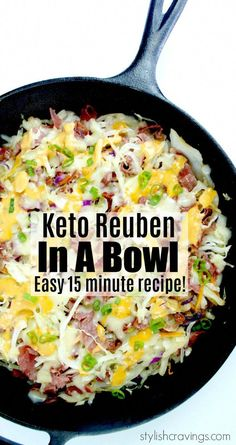 Keto Reuben In A Bowl - All the flavors of a tasty Reuben minus all the carbs! This recipe reheats well making it a great option for meal planning. #ketorecipes #Keto #reubeninabowl #reubenrecipes #reubensandwiches #ketodiet #inabowl #ketodinner #crackslaw #mealplanning #KetogenicDiet