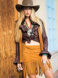 Sueded Mini Cowgirl Skirt, Cowgirl Dresses, Cowgirl Chic, Western Chic, Cowgirl Outfits, Cowgirl Style, Western Wear, Chic Outfits, Cowgirl Clothing