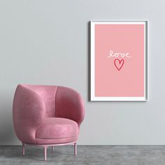Typography Prints, Typography Poster, Accent Chairs, Armchair, Etsy Seller, Art Prints, Trending Outfits, Interior Design, Pink