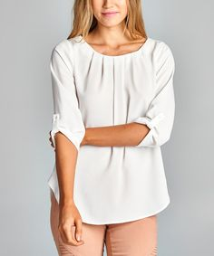 White Pleated Scoop Neck Top