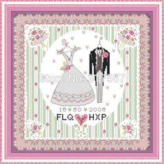 Needlework,DIY DMC Cross Stitch,Sets For Embroidery Kits,Wedding Dress Patterns Counted Cross-Stitching,Unfinished Cross Stitch