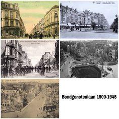 Leuven, de Bondgenotenlaan rond 1900, 1914, na de opruim rond 1918, jaren twintig, na het bombardement in WO II.