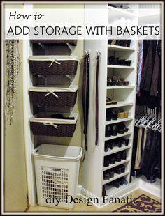 track brackets, baskets, master closet, organization, storage shelves, add space to your closet