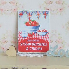 Dollhouse Miniature  Strawberries and Cream by sarahslilessentials