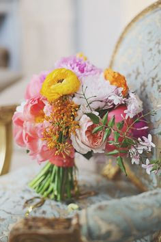 #Bouquet | On SMP -  http://www.StyleMePretty.com/2014/01/06/colorful-chateau-cocomar-wedding/ Forever Photography Studios