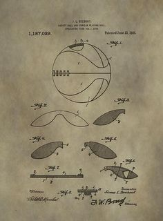 Vintage Basketball Patent by Dan Sproul Basketball Park, Basketball Drills, Basement Guest Rooms, Boys Room Design, Broken Bow, Vintage Office, Sports Humor, Cool Rooms, Boy Room