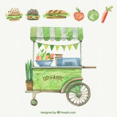 Watercolor vintage cart with food Free Vector