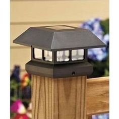 Veranda Post Cap Solar Powered Black Plastic (Common: 4 in. x 4 in.; Actual: 3.63 in. x 3.63 in.)-2211-F11B - The Home Depot