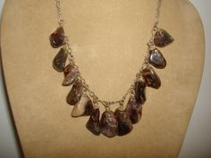 """Vintage Retro Polished Stone DANGLY Charm BIB NECKLACE ~ Brown Gray ~ Silver Tone Chain ~ (18"""" long) by PastPossessionsOnly on Etsy"""