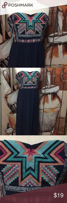 Maurices XL Navy Aztec Strapless Maxi Dress Beautiful No Flaws Smoke Free Home Bust 19 Length 54 Maurices Dresses Maxi