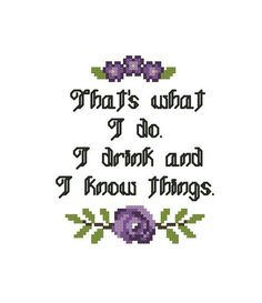 Modern Cross Stitch Chart - Embroidery Hoop Pattern - Funny Drink Quote - Mature Humor - Cross Stitch Hoop Art - Needlepoint Flower Border I also sleep and stitch, but drinking and knowing things comes first. ~~~~~~~~~~~~~~~~~~~~~ Details: Fabric:Aida 14 count, white 54w x 65h stitches Size: 3-3/4w x 4-5/8h inches Colors: 7 DMC Pattern comes with both symbol and stitches sheets you can choose from, along with the DMC floss colors and stitch descriptions. ~~~~~~~~~~~~~~~~~~~~~ *This is an...