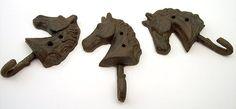 Cast Iron-Set Of 3 Horse Head Single Hooks