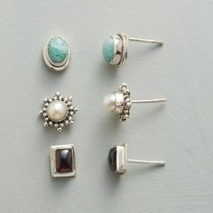 THREE FOR YOU EARRING TRIO - Three pairs of posts to perk up any outfit: oval amazonites, cultured pearls and rectangular garnets in granulation bead starbursts. Handcrafted exclusive.