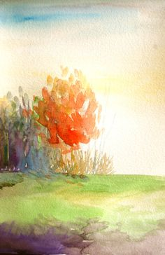 Hey, I found this really awesome Etsy listing at https://www.etsy.com/listing/205771566/watercolor-painting-landscape-morning