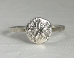 sterling silver sand dollar ring nautical by CapturedIllusions, $36.00