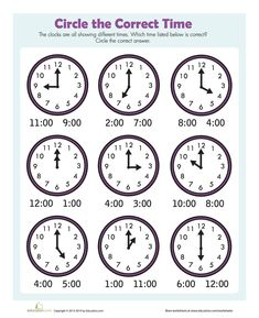 Circle the Correct Time Clock Worksheets, Free Kindergarten Worksheets, Kindergarten Math Worksheets, Worksheets For Class 1, Preschool Writing, Preschool Learning Activities, Math Clock, Teaching Time, Math For Kids