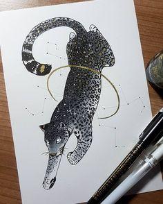 Day A starry Leopard. - Day A starry Leopard. Animal Drawings, Cute Drawings, Drawing Sketches, Illustration Art, Illustrations, Art Studies, Ink Art, Art Inspo, Amazing Art