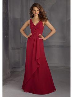 Long Red Empire V Neck and Twist Knot Bodice Bridesmaid Dresses 5602109 Abiti  Da Damigella D a12c59c99d9
