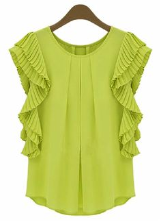 Green Ruffles Sleeve Loose Chiffon #Blouse - Casual and cool with a fresh breath of color.