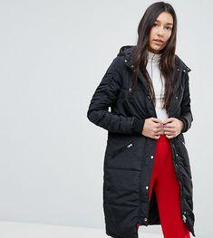 Noisy May Tall Hooded Padded Coat - Black