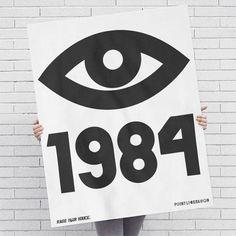 1984 George Orwell Big Brother Eye Screen Printed: Black Ink / Posters